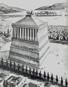 Mausoleum of Halicarnassus, one of the seven Ancient Wonders of The World, located in Bodrum, Turkey. Ancient Rome, Ancient Greece, Ancient Art, Ancient History, Mausoleum At Halicarnassus, Greco Persian Wars, Life Size Statues, Great Pyramid Of Giza, History For Kids