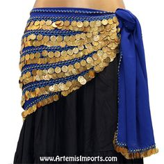401304f97 Belly Dance Coin Hip Scarf - Five-Row Egyptian Coin Hip Scarf - Artemis  Imports