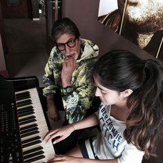 Amitabh Bachchan with his grand-daughter Navya Naveli Nanda. #Bollywood #Fashion #Style #Handsome