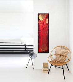 "WHAT LOVE DOES Abstract Acrylic Painting Original Fine Art 12""x48"" by Linnea Heide - red black gold - passionate - love"