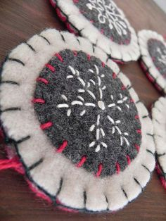 handmade felt ornaments | Handmade Embroidered Wool Felt Snowflake Ornaments by Scissaroo