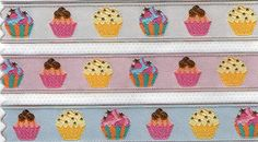 3 meters of Cupcakes embroidery fabric ribbon by betweeneedlesandpins on Etsy, $4.95