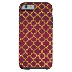 Chic Gold Glitter Quatrefoil Girly Red Burgundy Custom Iphone Cases 8b3c219fd