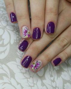 Purple Nail Art, Purple Nail Designs, Diy Nail Designs, Sparkle Nails, Silver Nails, Opi Gel Nails, Lavender Nails, Fall Nail Art, Flower Nails