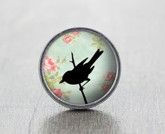 Singing Bird  Vintage Antique Silver Dresser Knobs by jade4wood, $6.20