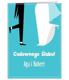 Zabawna, personalizowana kartka ślubna