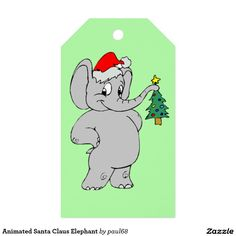 Animated Santa Claus Elephant Pack Of Gift Tags