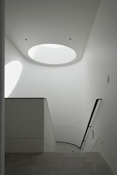 Light coming in the round skylight at the top of the stair of Mountview Road Residence