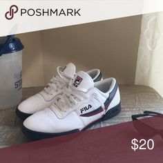 Fila Original Fitness Fila Original Fitness in white, trimmed in Navy blue and red. Comes in original box!  📦 Fila Shoes Sneakers
