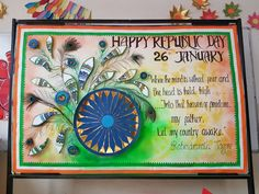 Art ,Craft ideas and bulletin boards for elementary schools: republic day Notice Board Decoration, School Board Decoration, Class Decoration, School Decorations, Diwali Decorations, Festival Decorations, School Projects, Projects For Kids, Independence Day Decoration