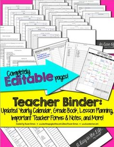 Digital Teacher Binder Jumbo Pack: Gradebook, Forms, Lesson Plans, Updated School Year Calendar