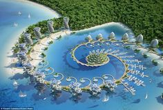 Image 34 of 47 from gallery of Vincent Callebaut Envisions Shell-Inspired Eco-Tourism Resort in The Philippines. Photograph by Vincent Callebaut Architectures Floating Architecture, Green Architecture, Concept Architecture, Futuristic Architecture, Sustainable Architecture, Amazing Architecture, Landscape Architecture, Architecture Design, Architecture Today