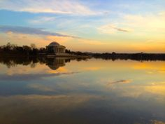 Reflections: Jefferson Memorial just before sunset