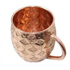 Copper Moscow Mule Mugs - 16 oz Authentic Moscow Mule Mugs, Hand Embossed with Beautifully Design and No Inner Lining