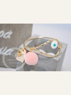 Μαρτυρικό βραχιόλι χειροπέδα ιδιαίτερο με μάτι , πον-πον & σταυρό για την Νονά & την Μαμά Christening Themes, Kids And Parenting, Diy And Crafts, Bracelets, Gold, Case, Organizations, Wedding, Jewelry