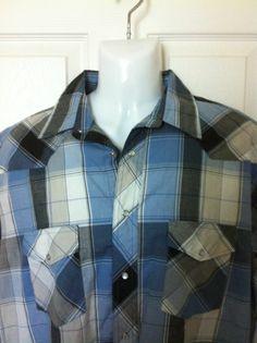 Wrangler Mens Pearl Snaps Sz XLARGE SS Blue Gray Plaid Cotton XL Western Shirt #Wrangler #Western
