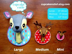 cupcake cutie: New Faux taxidermy deer heads now in storeToo twisted for the playroom, or just cute enough? Crochet Taxidermy, Faux Taxidermy, Sewing Toys, Sewing Crafts, Mobiles, Deer Heads, Animal Heads, Animal Pillows, Diy Pillows