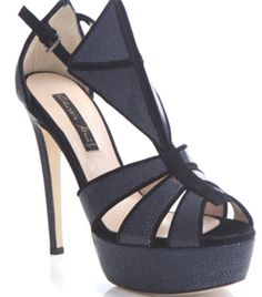 These navy-blue stingray and black suede trimmed shoes have a peep toe and sun-ray shaped front panels with a diamond shaped front.    The high heeled shoes have a high platform and a slim black suede side buckle fastening. #matchesfashion
