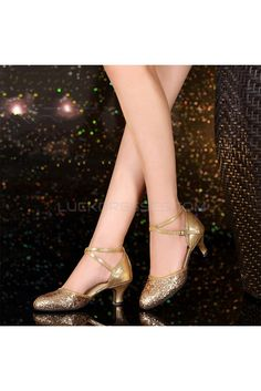 d163512ded Women s Fashion Gold Sparkling Glitter Heels With Ankle Strap Latin Dance  Shoes Wedding Party Shoes D801044