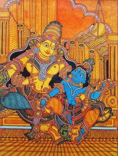 Krishna Sitting on Mother Yashoda's Lap (Reprint on Paper - Unframed)