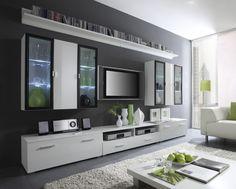Malmo 1 Long Tv Unit Modern Wall Units Tv Cabinets White High ... Schrankwand Wohnzimmer Modern