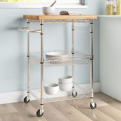 Dotted Line™ Enos Kitchen Cart with Solid Wood Top & Reviews | Wayfair Stainless Steel Kitchen Cart, Stainless Steel Counters, Rolling Kitchen Island, Kitchen Island Cart, Kitchen Islands, Kitchen Dining, Kitchen Storage, Storage Spaces, Cabinet Storage