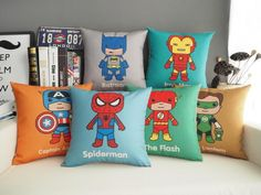 Spiderman pillow cover, Funny cartoon Justice League Superman Flash Wonder Woman throw pillow case pillowcase Wholesale #Affiliate