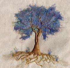 """""""mixed trees"""" embroidery, hand and machine work by Francine LECLERCQ Crewel Embroidery Kits, Hand Embroidery Designs, Ribbon Embroidery, Cross Stitch Embroidery, Embroidery Patterns, Machine Embroidery, Bordado Popular, Art Textile, Brazilian Embroidery"""