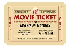 Printable Ticket Invitation Movie
