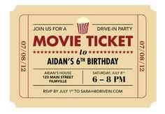 Printable Ticket Invitation Movie