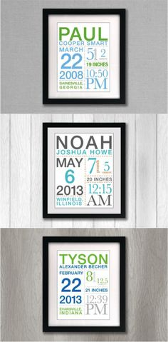 Custom Birth Announcement by BrandNoonan | Hatch.co   Decorate your nursery in style with this custom-designed typography birth announcement print that celebrates the birth of your little one. These prints also make fantastic gifts for friends & family. Each print is completely customizable and designed with child's birth info and color selections of your choosing. | Made on Hatch.co
