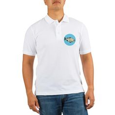 Largemouth Bass Fish Side Circle Cartoon Golf Shir