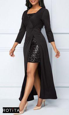 Sequin Embellished Mini Dress and Side Slit Black Dress Stylish Dresses, Women's Fashion Dresses, Elegant Dresses, Sexy Dresses, Evening Dresses, Casual Dresses, Tight Dresses, Short Dresses, Latest Dress For Women