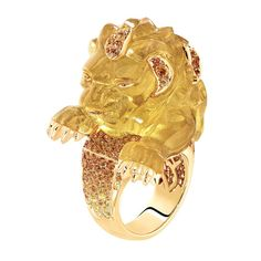 Chanel's Lion Rugissant yellow gold ring set with 7 brilliant-cut orange diamonds, 54 yellow sapphires, 132 orange garnets and a 92-carat be...