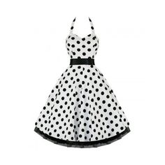Private Label Vintage Style White Polka Dot Swing Pinup Halter Dress (59 CAD) ❤ liked on Polyvore featuring dresses, white dress, white halter top, sweetheart dress, pinup dress and white pin up dress