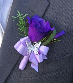 Grooms Purple Silk Lisianthus & Silver Butterfly Wedding Day Buttonhole like but not in purple