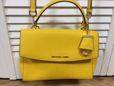 MICHAEL Kors Ava Yellow Leather Small Top Handle Convertible Satchel Bag #MichaelKors #Satchel