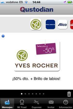 50% de descuento en Yves Rocher sólo para usuarios Qustodian http://blog.es.qustodian.com/?p=733 #MarketingMovil