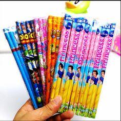 Freeshipping 12pcs/lot Children gift school &kindergarten pencil cartoon prints kids wood&drawing Standard Pencils Non-toxic HB