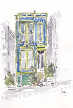 Victorian Town House, San Francisco set by Tony Underhill and sent in by Gill Hellewell The Artist Magazine, San Francisco Houses, Town House, Notebooks, Writers, Magazines, Exercises, Buildings, Victorian