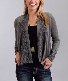 Look what I found on #zulily! Heather Gray Geometric Open Cardigan - Women #zulilyfinds