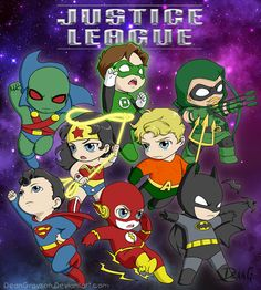 Justice League Chibies by *DeanGrayson