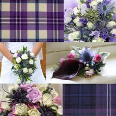 tartan materials and ribbons purple and blue tartan, huh. Celtic Wedding, Our Wedding, Dream Wedding, Wedding Stuff, Scottish Wedding Themes, Scottish Weddings, Cute Wedding Ideas, Wedding Inspiration, Scottish Flowers