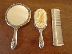 Antique Victorian Hair Brush Mirror and Comb Set Bakelite Heavy | eBay