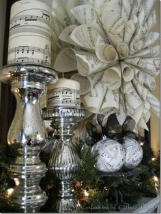 Easy and inexpensive Christmas decorations from sheet music. Easy to make and inexpensive sheet music decorations for Christmas. Diy Christmas Decorations, Christmas Candles, Holiday Crafts, Christmas Ornaments, Christmas Music, Wedding Decorations, Decorating For Christmas, Christmas Room, Sheet Music Decor