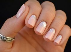 Pale Pink with Silver Glitter Gradient