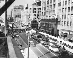 Street and Hill Street, Downtown Los Angeles, 1950 Old Hollywood Glam, Golden Age Of Hollywood, California History, Southern California, San Luis Obispo County, Downtown Los Angeles, Old Photos, Vintage Photos, In The Heights