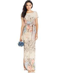 Adrianna Papell Petite Floral Matelassé Column Gown