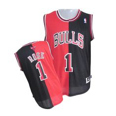Derrick Rose jersey-Buy 100% official Adidas Derrick Rose Men's Authentic Split Fashion Black/Red Jersey NBA Chicago Bulls #1 Free Shipping.