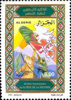 40ème anniversaire de la fête de la Victoire DZ N° 006.02 le 19 mars 2002 | philatelyfriend Timbre Collection, 19 Mars, Messi, Stamps, Design, Door Bells, Morocco Fashion, Flag, Africa